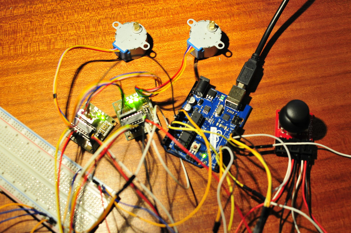 Joystick and stepper motors