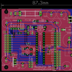 Bajduino 3A: ATmega 328P-PU powered by LM2576 5V 3A regulator. 3 rows of male headers for easy connection of servos and sensors.