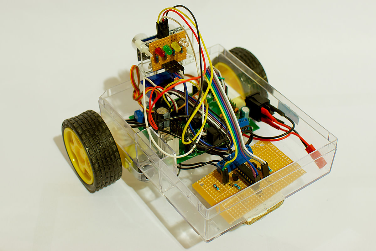 Obstacle avoiding robot made from cheap parts
