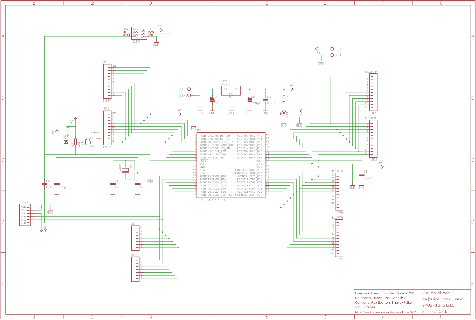 Bajduino 1284 rev2 schematic